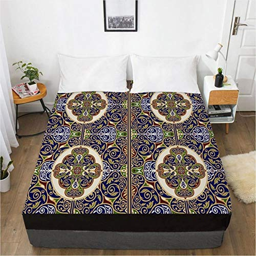 MMMWQ 3D Bedspreads Luxury Mattress Cover for Bed Royal-Blue Fitted Sheet Quilt Covers 180x200cm Bedspread Home Textile