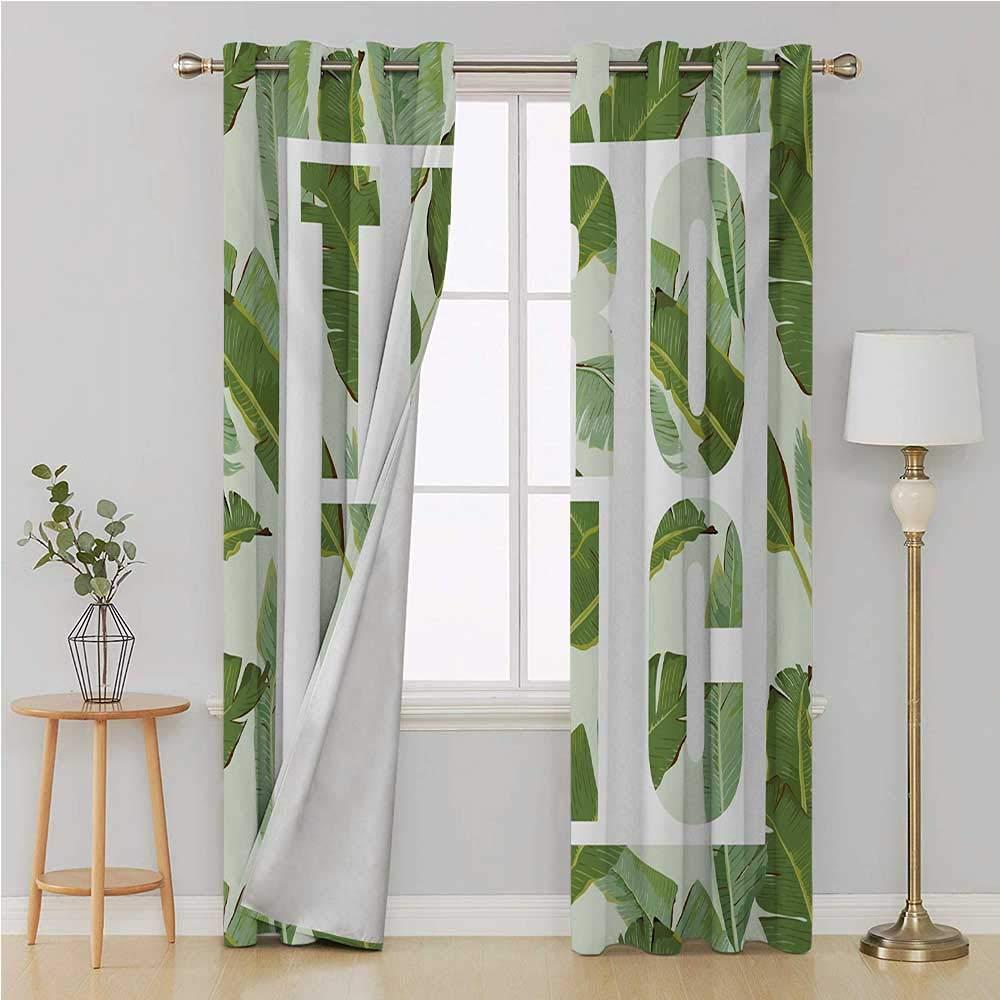 Cortina verde con ojales para dormitorio/sala de estar, cortinas de puerta correderas, arbustos perennes, hojas de palmera exóticas de ensueño, plantas románticas, cortina para niños, 120 x 96 pulgadas, color verde oliva: