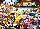 "Buffalo Games - Hiro Tanikawa - Cartoon World - Sam's Garage - 1000 Piece Jigsaw Puzzle Yellow, Red, Brown, 26.75""L X 19.75""W"