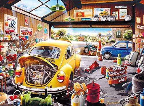 Buffalo Games - Hiro Tanikawa - Cartoon World - Sam's Garage - 1000 Piece Jigsaw Puzzle Yellow, Red, Brown, 26.75