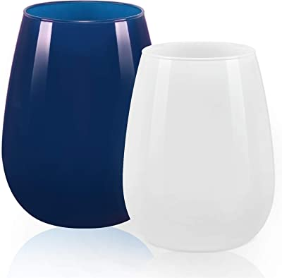 Set of 2 Multicolored Wine Glasses, Colorful Stemless Wine Glass for Women Men Friends Sisters Couples Coworkers - Gift Idea for Birthday Wedding Engagement Christmas (White & Dark Blue, 15Oz)