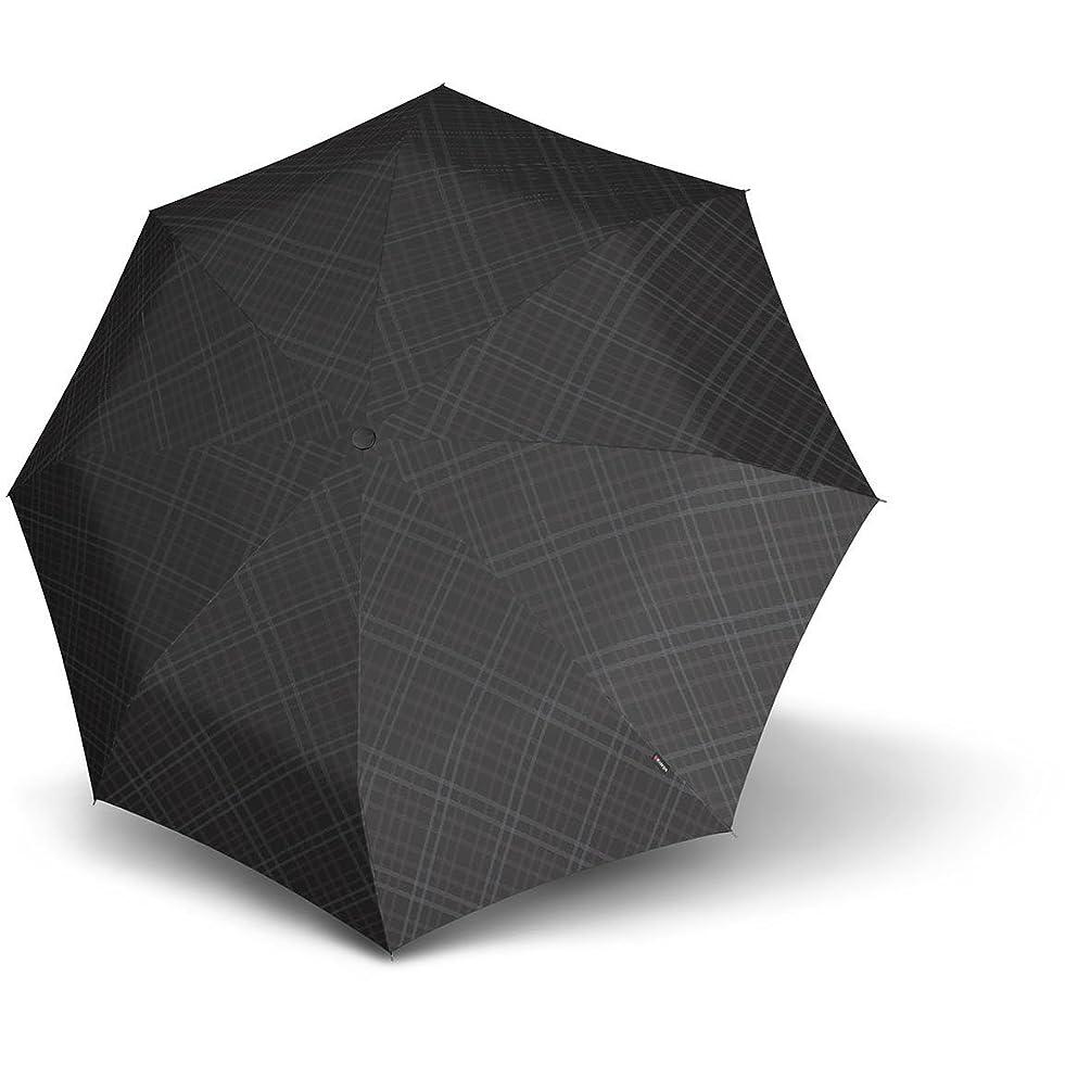 ぼかす素晴らしい良い多くの自分の力ですべてをするKnirps T2 Duomatic折りたたみ傘28 cm紳士プリントブラックグレー