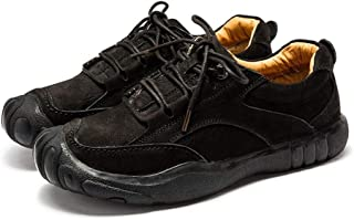 XUJW-Shoes, Fashion Hiking Athletic Shoes for Men Leather Comfortable Soft Vegan Anti-Slip Flat Lace Up Collision Avoidance Round Toe Durable Travel Driving (Color : Black, Size : 6.5 UK)