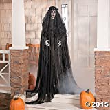"Halloween Prop 67"" Lifesize Widowed Ghost Woman in Black with Flashing Red Eyes"