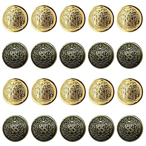 20個 25mm 平らな丸いボタン メタルボタン ブレザー ボタン 金ボタン スーツやジャケット ブレザーのボタンとしてお使いいただけます