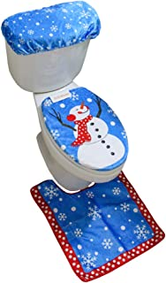 MrXLWhome Snowman Toilet Seat Cover Rug Set of 3, Bathroom Blue Christmas Holiday Decorations