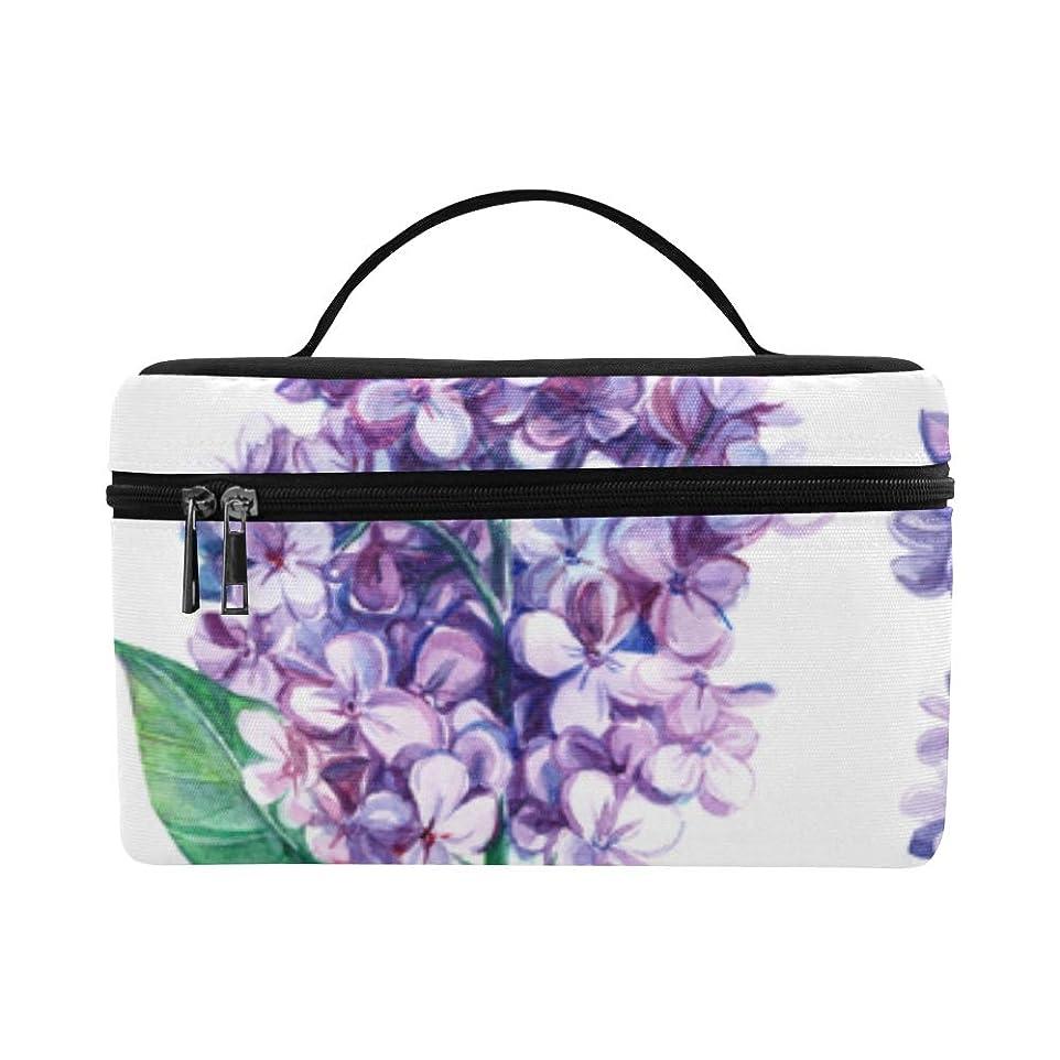 ドラム明確な文明化KWESG メイクボックス 紫色ライラック コスメ収納 化粧品収納ケース 大容量 収納ボックス 化粧品入れ 化粧バッグ 旅行用 メイクブラシバッグ 化粧箱 持ち運び便利 プロ用
