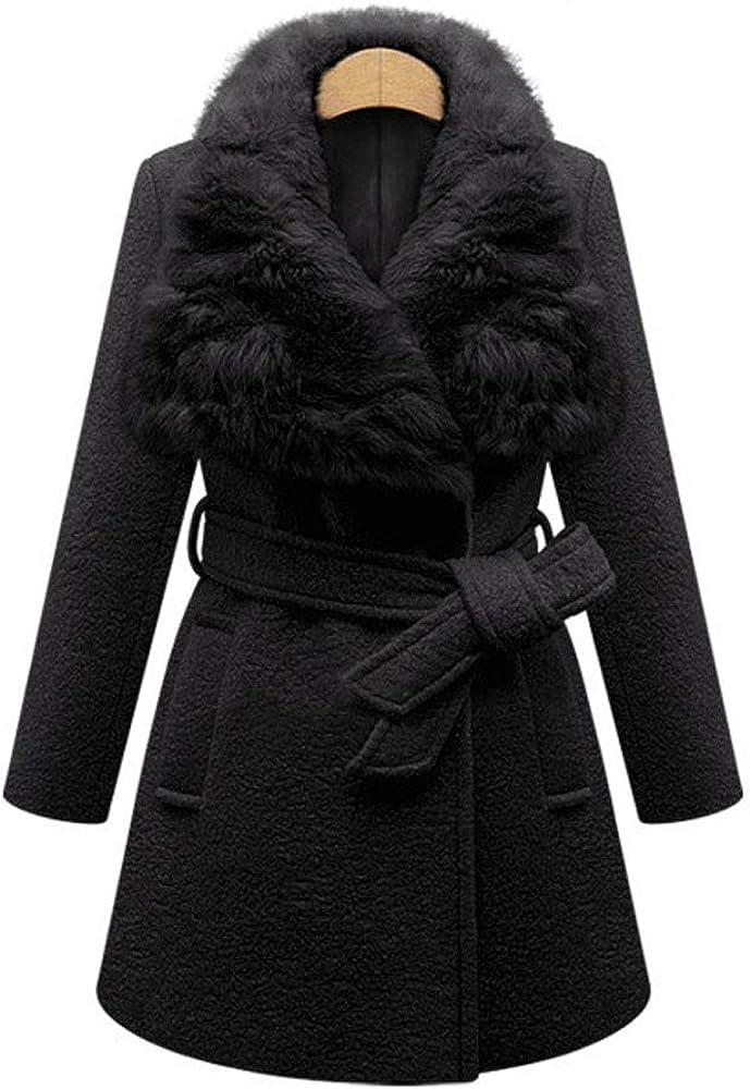 Wsirmet Women's Woolen Faux Fur Collar Tie Waist Jacket Coat Overcoat