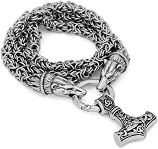 GuoShuang Men Stainless Steel Bear Head Norse Viking Amulet Pendant Necklace Handmade Chain