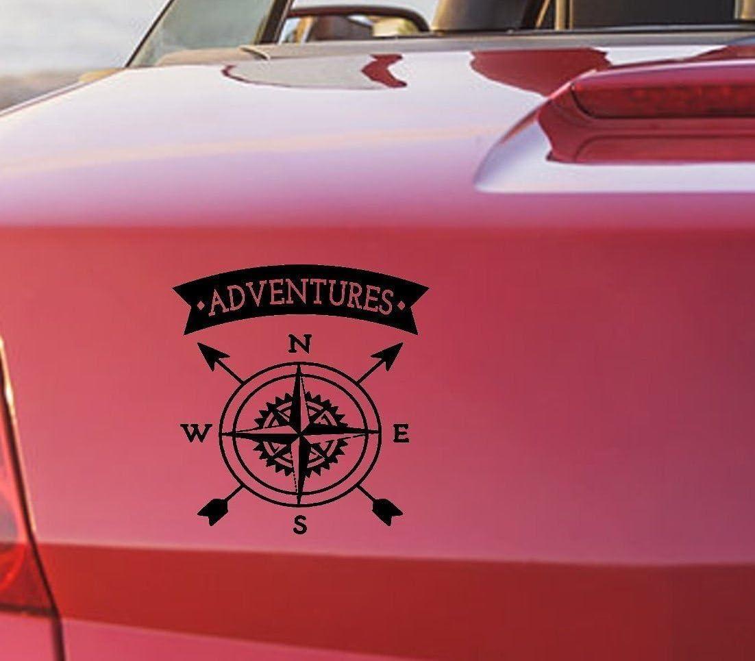 Tjapalo S Pka2 Autoaufkleber Kompass Aufkleber Auto Aufkleber Kompass Heckscheibenaufkleber Abenteuer Adventures B20 X H20 Cm Top Baumarkt