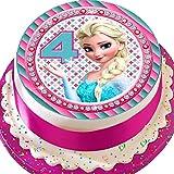 Essbare Kuchendekoration aus Zuckerguss, vorgeschnitten, 19,1 cm, rund, Elsa zum 4. Geburtstag