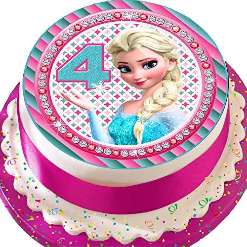 Vorgeschnittene, essbare Kuchendekoration aus Zuckerguss, 19 cm, rund, Motiv: Elsa, zum 4. Geburtstag