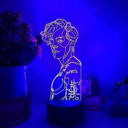 Gevo Apan Luz de noche 3D Anime japonés Ilusión Lámparas de decoración LED Lámpara de Regalo para fanáticos Luz de dormitorio Sensor táctil LED Lámpara de escritorio (Base negra)