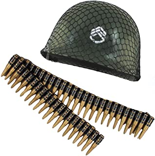 Childs Green Army Soldier Combat Costume Helmet With Bullet Belt Costume Set