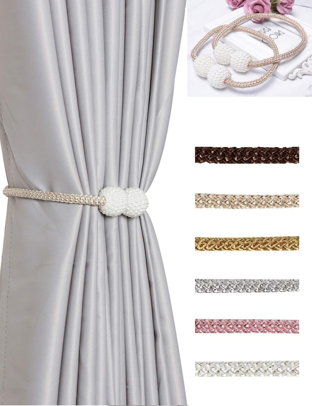 HoHnH cheap Beige 6 Japan Maker New Magnetic Curtain Rope Clips Tiebacks- Decorative H