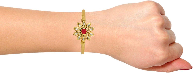 Efulgenz Indian Bollywood Floral Kundan Crystal Wedding Bridal Open Cuff Bangle Bracelet Jewelry