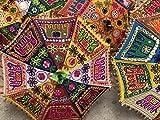 textile treasure Paraguas indio multicolor de playa con protección UV, paraguas de boda, bordado, bohemio, sombrilla para patio al aire libre (10 piezas)