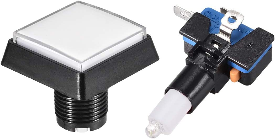 uxcell Game Push Button 44x44 Square 12V LED Illuminated Push Button Switch with Micro Switch for Arcade Video Games Green 2pcs