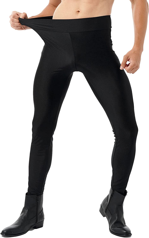 Freebily Men's Leather Mesh Patchwork Seamless Leggings Mid Waist Slim Fitted Pants Clubwear