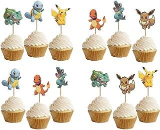 ELSANI 48pcs Pikachu Cupcake Toppers Cake Decoration Party