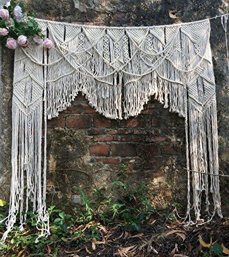 "RISEON Large 70"" W x 78"" L Handmade Macrame Wedding Backdrop, Macrame Wedding Arch Arbor, Macrame Wall Hanging,Macrame Door Hanging,Room Divider,Macrame Curtains,Window Curtain Boho Wall Art"