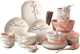Japanese Dish Set Ceramic 46 Head Cutlery Set Tableware Bowl Dish Household Plate Housewarming Gift Set 5 Colors Optional ...
