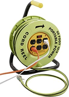 Southwire E-238 Heavy Duty Power Station Cord reel, with 6 Grounded Outlets, 12/3 50-Foot Extension Cord, Built In 15-Amp Circuit Breaker, Green/Black
