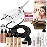 Belloccio Professional Beauty Deluxe Airbrush Cosmetic Makeup System with 4 Fair Shades of Foundation in 1/2 oz Bottles - Kit includes Blush, Bronzer and Highlighter and 3 Free Bonus Items Video Link