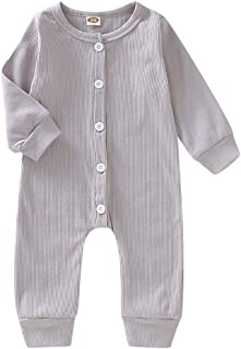 Xifamniy Newborn Unisex Kids Sweater Style Button Down One-Piece Bbodysuit Babies Casual Outfit