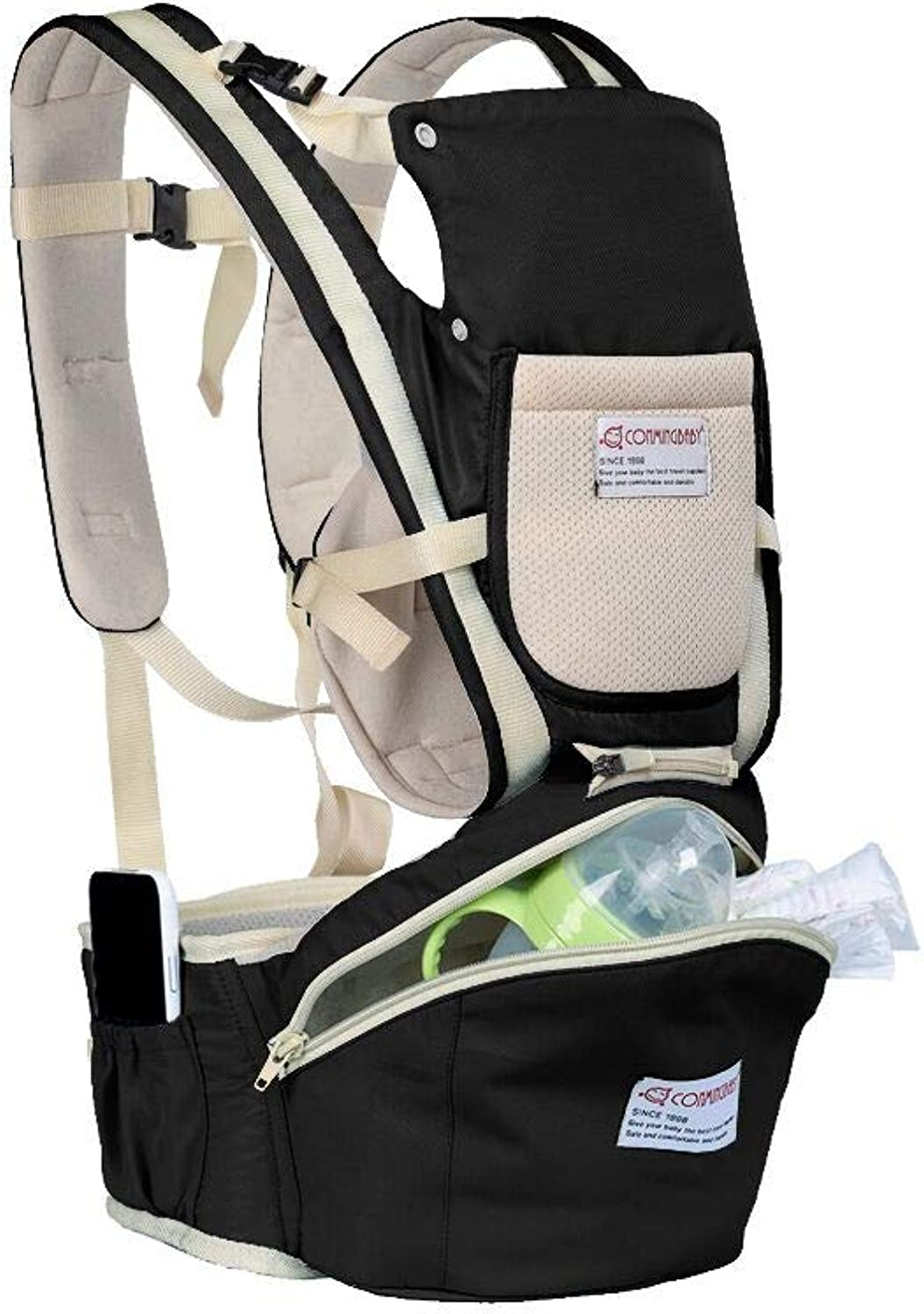 Baby Carrier, SENSU Muti-Function Breathable Safe Baby Hip Seat with Detachable Seat Universal (Black)