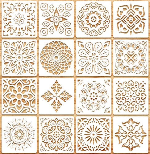 WJMY Mandala Schablone Wiederverwendbare Dotting zum Airbrush Schablonen Wandgestaltung Malen auf Holz, Stein, Stoffen Metall Möbeln und Wandschablone 16 Stück (15 cm x 15cm)