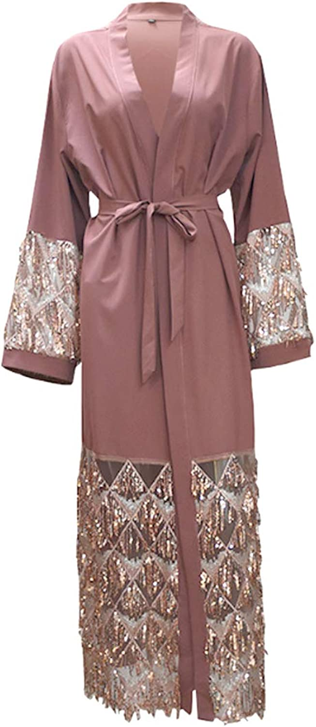 Fulision Muslim Women's Robe Sequin Printing Long Sleeve Loose Lace Coat