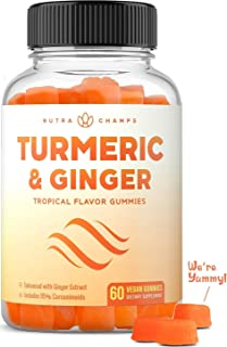 Turmeric Curcumin with Ginger Gummies - Natural, Vegan, Chewable Gummy Vitamin Supplement for...
