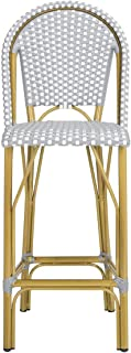 Safavieh PAT4008B Collection Ford Grey and White Indoor/Outdoor Stacking French Bistro Bar Stool