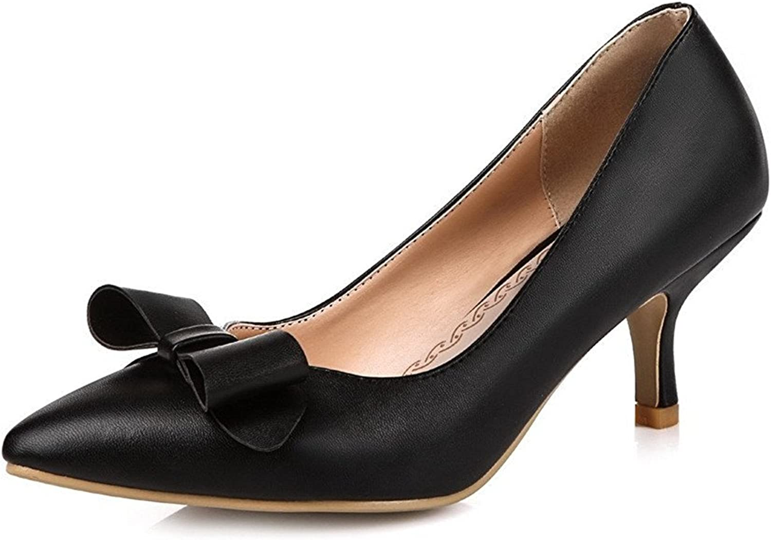 Tirahse Comfortable Women's Pull On Kitten Heels Blend Materials Pointed Closed Toe Pumps-shoes
