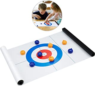 Tabletop Curling Game, Compact Curling Board Game Portable Mini Tabletop Games for Family/School/Travel/Best Parent-Child Games