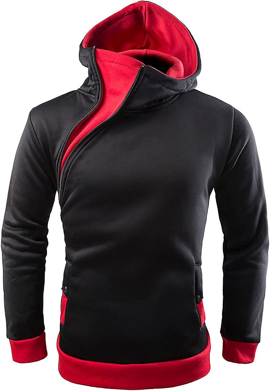 2021 New Hooded Sweatshirt for Men Fashion Color Block Zipper Hoodie Sweater Winter Fitted Long Sleeve Outwear