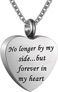 Heart Cremation Urn Ashes Necklace, No longer by my side.but forever in my heart,Stainless steel memorial pendant Waterproof memorial pendant