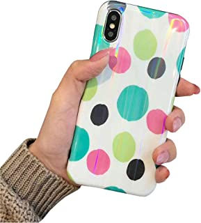 BONTOUJOUR iPhone X/iPhone XS Phone Case, Beautiful Art Polka Dot Flower Little Heart Pattern Serie Cover Case Soft TPU 360 Degree Good Protection- Colorful Dot-1