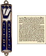 TALISMAN4U Ten Commandments Mezuzah with Scroll Silver Tone Blue Enamel Israel Door Mezuza 3.5 Inch