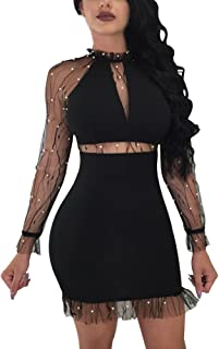 Honestyi Women's Nail Beads Long Sleeve Evening Party Sexy Mini Dress Club Dress Perspective Beads Women's Dress