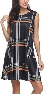 Poulax Women's Summer Casual T Shirt Dresses Sleeveless Plaid Swing Tank Dress with Pockets