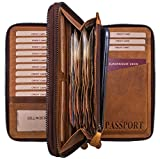 Hill Burry Portafoglio di viaggio in pelle | Valigetta portafogli in pelle di cuoio naturale conciato | Directory Organizer borsa da polso/documento Bag | Borsa, marrone