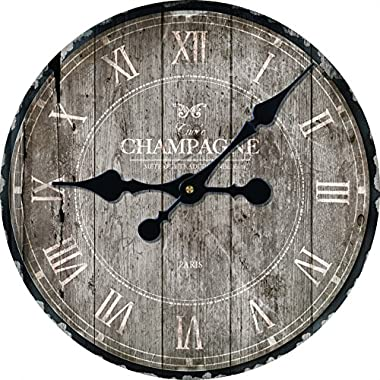 Toright Decro Home Round Wall Clock Champage Pattern-16