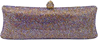 MDSQ Clutch Simple Elongated Diamond Evening Bag Lady Fashion Chain Shoulder Bag Girl Wedding Party Gift 23 * 9 * 5cm Fashion personality (Color : Multi-colored)