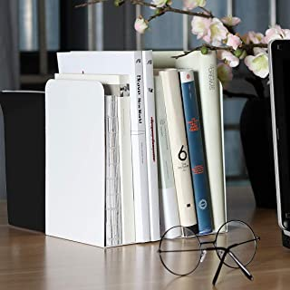 Abuff 2 Pcs Modern Bookends White, Decorative Metal Nonskid Book Ends Supports for Books, Movies, DVDs, Magazines, Video Games, Standard, 8.0 x 3.85 x 5.3 Inch
