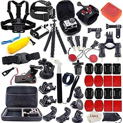 MOUNTDOG Action Camera Accessories Kit for GoPro Hero 7 6 5 4 3+ 3 Hero Session 5 Black Accessory Bundle Set for Yi AKASO Apeman SJ4000 DBPOWER WiMiUS Rollei QUMOX Campark Action Camera Accessory by MOUNTDOG