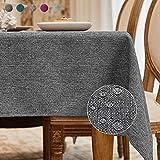 BALCONY & FALCON Mantel Rectangular Mantel Antimanchas para Cocina Mantel Impermeable para Mesa Cafetería (Gris Oscuro, 140*180cm)