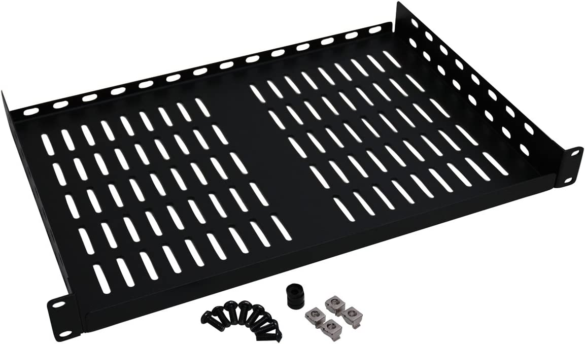 Tripp Lite SRSHELF2P1U Rack Enclosure Cabinet Cantilever Fixed Shelf 40 Pound Capacity 1URM , black