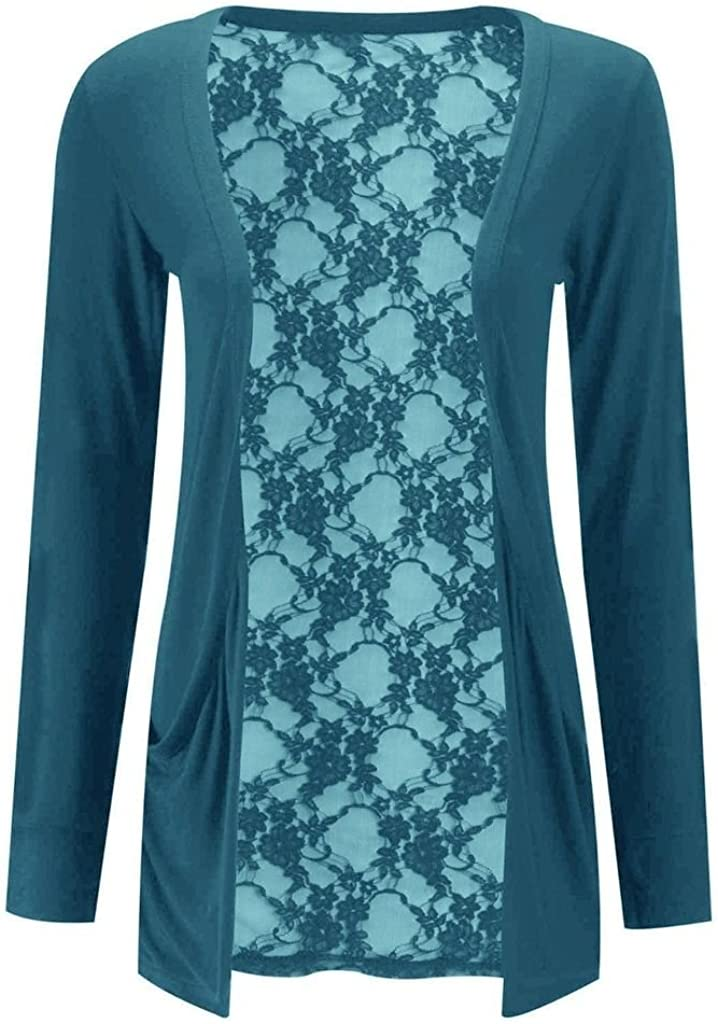RM Fashions Womens Floral Lace Back Long Boyfriend Summer Cardigan Pullover Shrug (Small To Large)